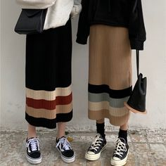 春配色ハイウエストストライプニットカジュアルスカート Girly Outfits, Vintage Outfits, Fashion Outfits, Womens Fashion Online, Latest Fashion For Women, Modest Dresses, Modest Outfits, Muslim Fashion, Korean Fashion