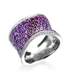 Mark Patterson - Intensity Collection 18K White Gold Wide Diamond & Pink Sapphire Ring