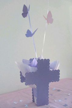 Items similar to Communion Decorations for Girls - Personalized Cross and Flying Butterfly Balloon Centerpieces & Confetti - Choice of Colors on Etsy Communion Centerpieces, Communion Decorations, Baptism Decorations, Balloon Centerpieces, Christening Centerpieces, Communion Favors, Baptism Banner, Baptism Favors, Baby Baptism