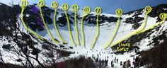 Tuckerman's Ravine Ski Routes 1 - Left Gulley 2 - Chute Variation South 3 - The Chute 4 - Chute Variation North 5 - Center Gully South 6 - Center Gully North 7 - The Icefall 8 - The Lip White Mountains, Staycation, New Hampshire, The Great Outdoors, New England, Places To See, Skiing, Road Trip, Snowboards