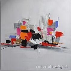 абстрактная живопись-серая с рельефами оранжевый, черный