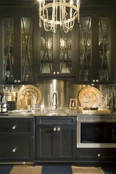Butler's Pantry with great under cabinet lighting