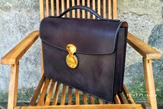 Hand sewn briefcase from Bridle leather to order.