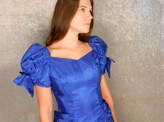 90s Prom Dress Puffy Sleeves Sweetheart Neckline by OwlhurstLoft, $40.00