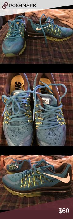 Women's Nike Air Max blue, green and black Only worn 2 times great condition! Nike Shoes Sneakers