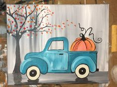 How To Paint A Vintage Pumpkin Truck - Step By Step Painting Canvas Painting Designs, Fall Canvas Painting, Canvas Painting Tutorials, Autumn Painting, Acrylic Canvas, Diy Painting, Painting Videos, Painting Pictures, Beginner Painting