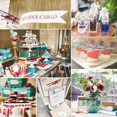 Vintage Travel Theme. I love the minis as a party favor.
