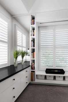 Timber Shutters in Silk White Colour With Louvres White Blinds, Pelmets, Custom Windows, Forest House, Roller Blinds, Living Room Modern, Beautiful Space, Shutters, Interior Design Living Room