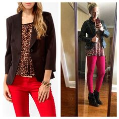 Black leather jacket + animal print + red skinny jeans+ black booties // goodwill outfit - #pinneditthriftedit