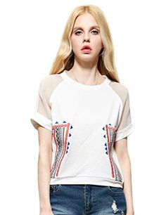 Womens Embroidered Organza Summer Tee Shirt White