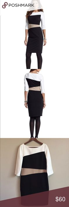 """White House Black Market Colorblock Dress Size 14 White House Black Market Elbow-sleeve Colorblock Ponte Dress. Material: 70% Rayon/25% Nylon/5% Spandex. Approximate Measurements: Armpit to Armpit-19""""/shoulder Top to bottom hem-38inches. Features: Pullover style with partial hidden side zipper, Bateau neckline, fully-lined, & darts at bust. This beautiful piece will take you from Career to dinner out with friends! Size 14. Worn twice. White House Black Market Dresses"""