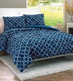 Deep Cobalt Looped Trellis Bedding Set From Better Homes And Gardens At  Walmart #sweepstakes