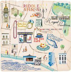 Brighton Map by Anna Simmons Brighton Lanes, Brighton Map, Brighton England, Brighton And Hove, Visit Brighton, Brighton Belle, England Houses, Travel Illustration, Celebration Quotes