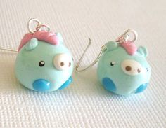 Baby Horse Earrings, Clay Mini Animal Earrings, Kawaii Blue and Pink Equines. $10.00, via Etsy.
