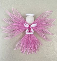 Deco mesh small pink ribbon angel, angel decor, wall hanging, breast cancer awareness, pink ribbon d Valentine Day Gifts, Valentines, Diy Angels, Ribbon Decorations, Angel Decor, Christmas Angels, Christmas Ornament, Christmas Decor, Types Of Craft