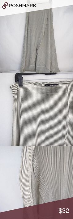 Kettle Black Striped Skirt (Sz M) Kettle Black Striped Skirt (Sz M) Made in USA. Muted black & white striped skirt with fixed waist hem and tulip-style wrap cut. Some softening & wear from use. Kettle Black Skirts Maxi