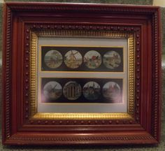 Magic Lantern Slides Hand Painted - Matted in a Spectacular Antique Frame