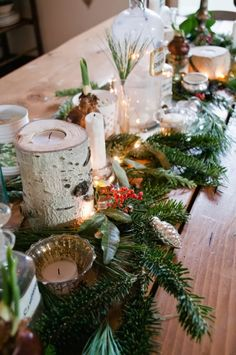 fresh greenery table runner - Vintage Whites via @Remodelaholic