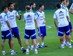 Ezequiel Garay, Gonzalo Higuain and Lionel Messi during the Argentina training session at Cidade do Galo on July 6, 2014 in Vespasiano, Braz...