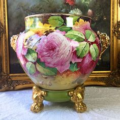 "14"" tall Huge Limoges France hand-painted rose Jardiniere/planter, elephant head handles on separate base with claw feet, artist signed ""P. Martial "", 1890-1932"