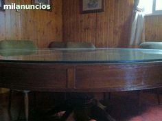 #mesa #antiguedades #nogal MESA REDONDA COMEDOR  Y SILLONES.  - foto 3