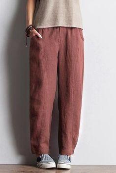 Women Simple Casual Linen Loose Pants – Babakud - All About Fashion Moda, Grey Fashion, Fashion Pants, Fashion Outfits, Estilo Hippie, Comfy Pants, Type Of Pants, Summer Pants, Linen Trousers