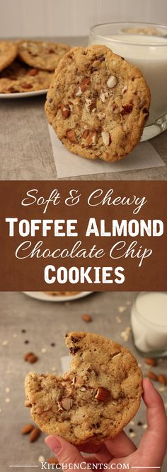 These soft and Chewy Toffee Almond Chocolate Chip Cookies are full of nutty almonds, buttery toffee, and sweet chocolate.