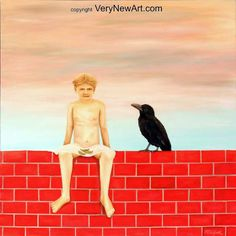 Original Oil Painting of the Artist Frank Carlguth; Title: Boy with raven  Original Ölgemälde des Künstlers Frank Carlguth, Titel: Junge mit Rabe   #kunst #art #oelgemaelde #oil painting