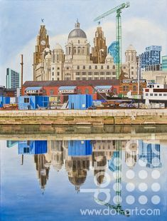 View of the Three Graces - dot-art Local Artists, Limited Edition Prints, Best Sellers, Liverpool, Taj Mahal, Third, Original Art, Dots, Travel