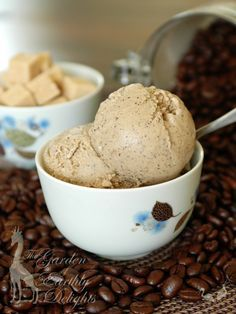 Coffee Almond Ice Cream  1/3 c dark roast coffee beans  2 c almond milk, unsweetened (Almond Breeze is good)  1/4 tsp ground cinnamon  8 egg yolks  2 c heavy cream  1 c sugar  1 tsp vanilla extract