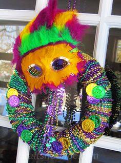 DIY this easy Mardi Gras Wreath with Mardi Gras beads. CraftsnCoffee.com.