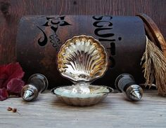 Set of 5 Dish Silverplated Glass Oyster Seafood by TheGuardyan
