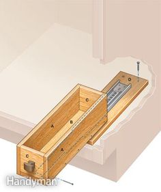 Mini rollout drawer diy details.  Van to camper conversion. Space saving ideas