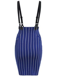 Royal blue stripped skirt with braces