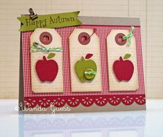 Replace apples with strawberries & make it a thank you card. Replace apples with strawberries & make it a thank you card. Teacher Thank You Cards, Cricut Cards, Thanksgiving Cards, Fall Cards, Scrapbook Cards, Scrapbooking, Card Tags, Paper Cards, Cute Cards