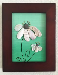 9 x 7 natural chocolate brown frame canvas art. Mixed media-Acrylic green hombre painting with hand selected seashells from a local beach on the central coast of California. Black Eyed Susan
