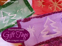 Home made gift tags - these look so pretty and it's a fun art project for kids too.