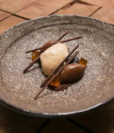 Australian Gourmet Traveller recipe for Earl Grey ice-cream, PX prunes, chocolate and honey by Andrew McConnell.