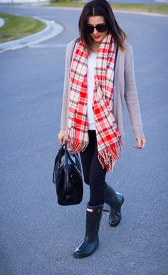 Cardigan, colorful scarf, Hunter boots
