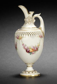 A fine Royal Worcester reticulated ewer by George Owen and Harry Chair, dated 1907