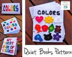 My First Book of Colors quiet book (felt book/busy book) Quiet Book Templates, Quiet Book Patterns, Quilt Patterns, Templates Free, Doll Patterns, Rick Rack, Felt Books, Quiet Books, Montessori Books