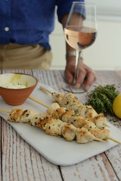 Easy chicken kebab recipe for the barbecue or griddle. Perfect for lunch or supper with friends this summer. See more here http://loblerdelaney.co.uk/lemon-and-thyme-chicken-kebab-recipe/