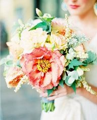 "mint and coral wedding flowers -- i like this rustic, ""messy"" style of bouquet"