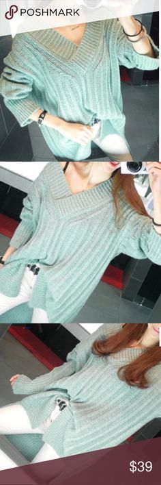 """Oversized Mint mid-long V-neck sweater Mint features the most hit fashionable trend. The V-neck shows the sexy neckline。bust-39.5"""", length-29.5, sleeves length: 20.87"""". NWOT Sweaters"""