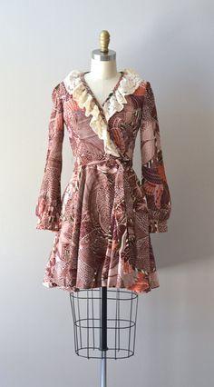 Folk Singer dress vintage 70s mini dress floral by DearGolden