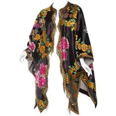 Antique Moroccan Silk Tapestry Coat with Brass Fringe | From a collection of rare vintage coats and outerwear at https://www.1stdibs.com/fashion/clothing/coats-outerwear/