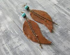 Ginger Brown Earrings. Leather Feather Earrings. Turquoise Earrings. Bronze Bohemian Earrings. Boho Tribal Earrings. Boho Chic Jewelry.