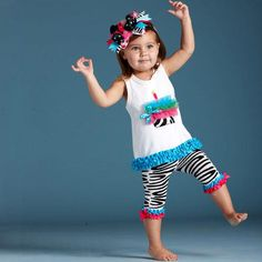Mud Pie Wild Child Zebra Tunic and Capri Set. Stomp into Fun!  She will stomp into fun with this fabulous tunic and capri set. The sleeveless white tunic is so comfy it allows for all that fun arm movement while she is dancing and running around. A brilliant blue grosgra.. . See More Girl Clothes at http://www.ourgreatshop.com/Girl-Clothes-C197.aspx   Mud Pie at In Fashion Kids