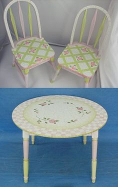 hand painted table design photos | Pink Crackle Table and Chair Set - Kids Decorating Ideas