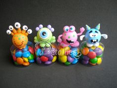 Potinho Monstros Monster Party, Monster 1st Birthdays, Monster Birthday Parties, First Birthdays, Dulceros Halloween, Baby Food Jar Crafts, Crazy Toys, Classroom Treats, Ugly Dolls